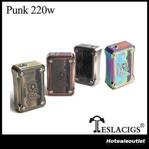 Authentische Tesla Punk 220W Elektronische Zigarette Mod TC TCR VW VV Modus Angetrieben durch Dual 18650 Batterien Teslacigs Punk 220 Box Mods
