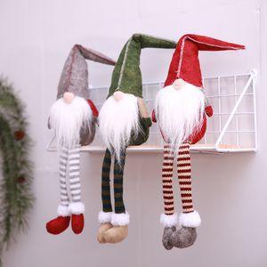 Xmas Swedish Hang Leg Figurines Handmade Christmas Gnome Faceless Plush Doll for Ornaments Gifts Kids Xmas Decoration HH7-1729
