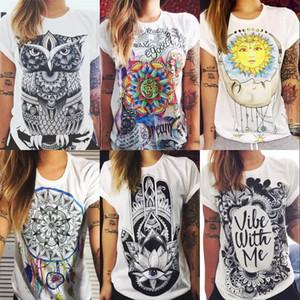Moda Feminina T Camisas de Verão de Manga Curta mulheres Impresso Letras Cartas Femininas Do Vintage Retro Graffiti Flor Tops Tee Lady T Camisas ZL3229