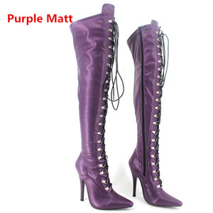 Women Boots 12cm High heel Ladies Black Patent Over Knee Thigh Boots Sexy Fetish Pointed Toe Custom Stiletto Point Lace Up Boots