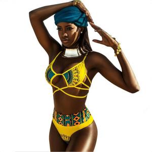 FILLES jaune imprimer dame mer plage Cartoon bikini sexy maillot de bain de Split en deux parties maillot de bain bretelles taille élastique Ceintures Tie réglable