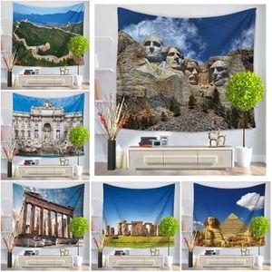 2017 modernos lugares de interés histórico del modelo de pirámide egipcia tapiz de la decoración del hogar Beach Blanket Toalla (S: 130x150cm / M: 145x150cm)