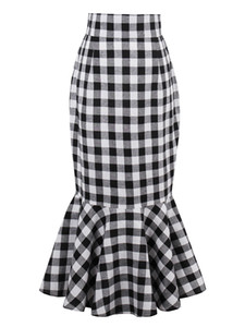 2018 primavera e verão temperamento feminino fishtail magro xadrez e material de fibra de cintura alta saia curta FS5001