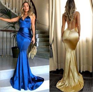 Semplice sexy scollo a V oro sirena Prom Dresses Backless Spaghetti Strap Custom Made Abiti da sera lunghi Abiti da damigella d'onore Abiti formali
