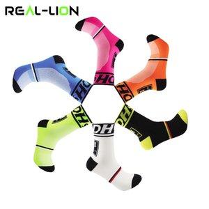 Reallion 1 paio Colorful Sport Cycling Socks uomini respirabili di secchezza rapido Esecuzione Calzini Basket Calcio Sport Nuovo