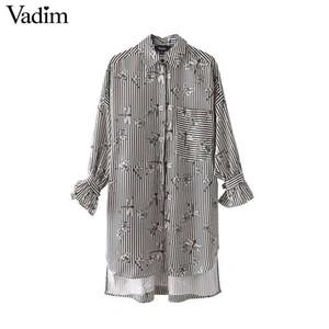 x201712 Vadim libellula floreale a righe larghe camicie oversize papillon a maniche lunghe camicetta donna casual chic top blusas LT2433