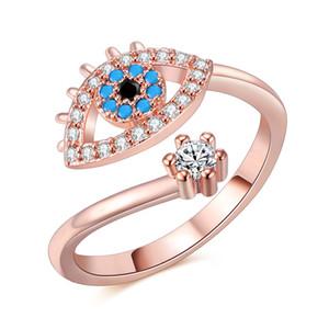 Anillo ajustable para mujer color oro rosa azul cristal Evil eye joyería de la boda Girls Party Bague moda anillos de moda