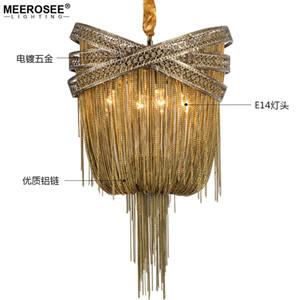 Бронза Современных алюминиевого Люстра Light итальянской кисточка Дизайн цепь Люстра Лампа Подвесное Освещение Гостиной Фойе