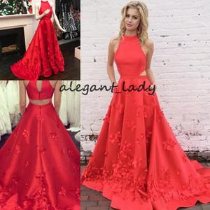 Charming Watermelon 3D 꽃 의상 드레스 2018 높은 목 장면 전환 사이드 새틴 백 레이스 나비 레드 긴 저녁 귀가 파티 드레스