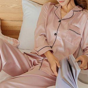 Langarm Sleepwear Womens Silk Satin Pyjama Pyjama Set Pijama Pyjama Anzug Damen Schlaf zweiteilige Set Loungewear