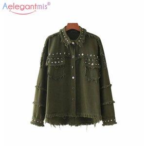 Aelegantmis Sonbahar Kış Yeni Kadın Denim Ceket Moda Perçin Püsküller Punk Stil Ceketler Bayanlar Boy Gevşek Coat Kabanlar