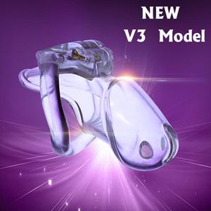 2019 새로운 잠금 디자인 놀랄만 한 가격의 남성 생체 신호 합성 수지 정색 장치 수탉 케이지 HT V3 벨트 4 음경 반지 성인 성 장난감 A380