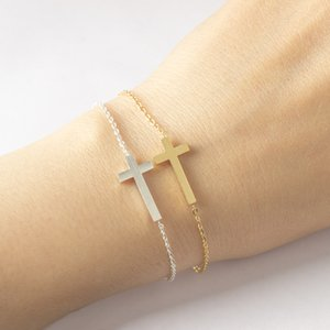 Oro color Christian Cross Charm Jesús pulseras para las mujeres del regalo de la cadena de acero inoxidable joyería de la vendimia 2017