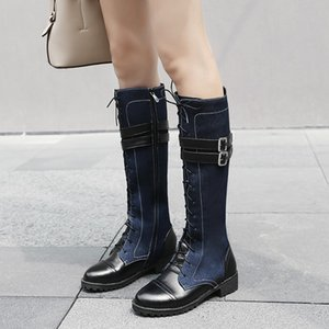 YMECHIC 2018 Autumn Cross Tied Buckle Strap Med Block Heel Denim Pu Knee High Knight Ridding Motorcycle Boots Female Shoes Botas