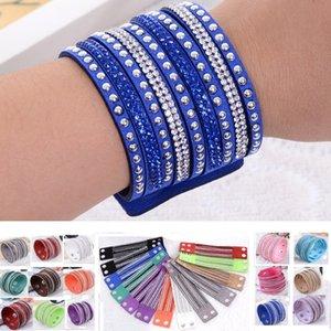 18 colores pulsera de múltiples capas del abrigo Rhinestone Slake Deluxe brazaletes de cuero con pulsera de cristal espumoso mujeres regalo de Navidad