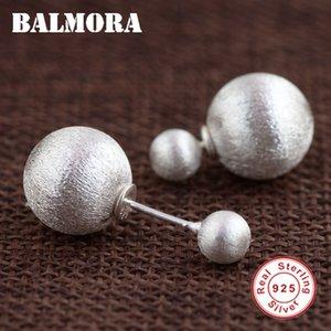venta al por mayor 925 Sterling Silver Double Ball Stud Earrings para mujeres amantes de la madre regalos Classic Fashion Earrings joyería SY31359