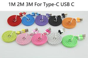 1M 2M 3M coloré Nouveau USB plat de nouilles tissu nylon de type C Tresse C Câble USB pour Samsung Pour Blackberry pour HTC tissu tressé 100pcs câble