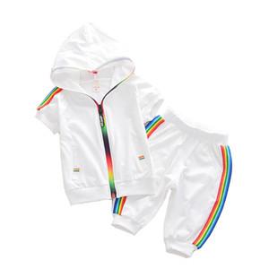 Enfants Garçon Fille Vêtements Vêtements De Sport Été 2018 Mode Survêtement À Manches Courtes Manteau + Pantalon Vêtements Colorés Pour Les Filles Enfants Ensemble