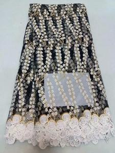 Африканская кружевная ткань 2018 высокое качество нигерийские кружевные ткани Tissu Africain гипюр вышивка черный французский тюль кружевной ткани