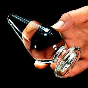 2017 New 50mm diameter glass anal plug adult sex toys for woman anus dilator stimulator vagina balls butt plugs big buttplug Y18110106