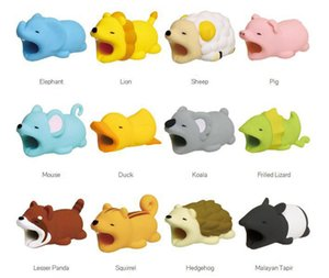 100pcs Cable Bite Protector for Iphone cable Winder Phone holder Accessory cable biters dog rabbit cat Animal doll squishy toys