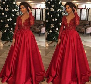 Red Satin Applique Champagne Prom Dresses V-Neck Evening Party Dress Floor Length Long Sleeve Custom Made