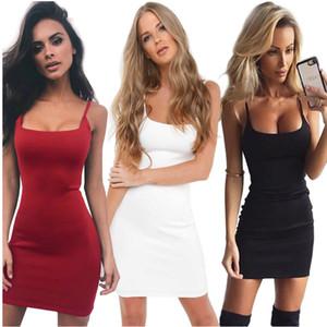 2018 Spring Summer Basic Stretchy Black White Slim Tank Women Dress Mid-Calf Cotton Back Split Dress Sleeveless Women Vestidos