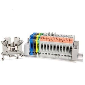Morsettiera 100PCS Connettore in rame puro pezzi di guida tipo UK-6N Morsettiera passante combinata