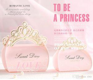 Favores de la boda Cajas de dulces Cajas de regalo de la corona de chocolate Favores de la fiesta de la caja del caramelo de papel romántico Favores de la boda princesa rosa Cajas de dulces Favor