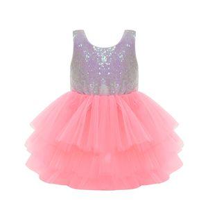 Vestito da ragazza Cute Paillettes senza maniche Vest Princess Lace Dress Baby Kids Party Matrimonio Damigella d'onore Vestido con Bowknot Backless