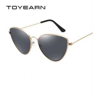 TOYEARN Vintage Senhoras Sexy Cat Eye Sunglasses Moda Feminina Limpar Óculos Vermelhos Armação de Metal Óculos de Sol Para Feminino UV400