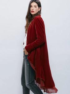 Sexy elegante de terciopelo de gasa con volantes Trench Coat mujeres moda puntada abierta Dovetail Casaco Feminino Office Lady Spring Coat 2017 S18101203