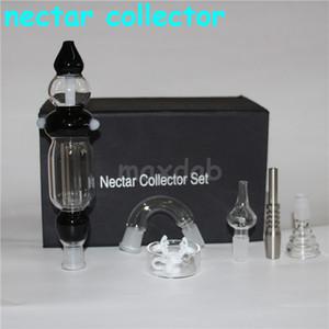 Nectar Collector Kit bong nuevo diseño dos funciones 14mm oleoductos de vidrio tubo de agua con estuche
