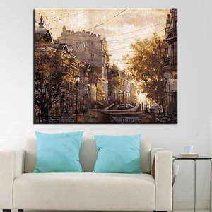 Framework Oil Painting By Numbers DIY Coloring Autumn City Streets Of The Sky Pictures On Canvas HandPainted Wall Art Home Decor