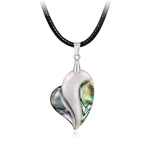 Abulón natural Shell Collar Colgante Colorido Corazón Suéter Cadena Collar Joyería Día de San Valentín Regalos del Día de la Madre