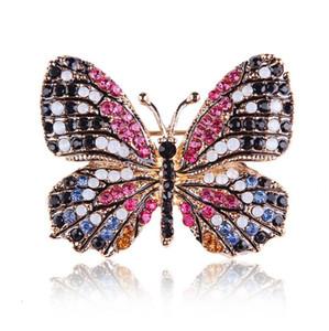 горячее надувательство OneckOha Мода ювелирных изделия Красочного Rhinestone бабочка брошь сплав эмалированных животные Брошь Pin Одежда Аксессуары Бесплатная доставка
