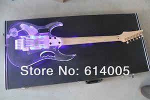 Envío libre de alta calidad nueva llegada transparente 7 V JEM instrumentos musicales de cristal de la guitarra eléctrica hay cuello con LED567