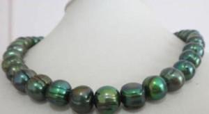 "Natural 11-12mm tahitian barroco pavão verde pérola colar 18 ""14k AMARELO CLA"