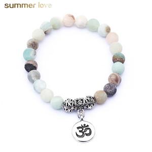 Bracelet perlé à la main en pierre naturelle mate 8mm pour les hommes hommes élastique coloré perles alliage charme bracelet pas cher bijoux en gros