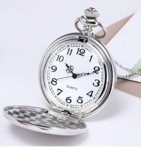 Unisex Retro Relógio de Bolso Moda Bronze Cadeia Colar Espelho de Prata Relógio de Bolso Masculino Relógio reloj de bolsillo Dropshipping