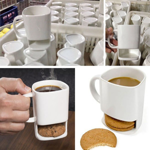 Ceramic Milk Cups With Biscuit HolderCookies Coffee Mugs Storage For Dessert Christmas Gifts Ceramic Cookie Mug HH7-257