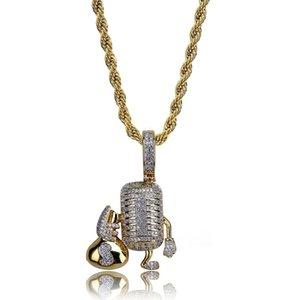 Hip Hop Copper Microphone Holding Money Bag Iced Out Collana con ciondolo zircone cubico per gioielli da uomo