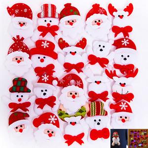 Led Navidad Broche Insignias Decoraciones Para Papá Noel Muñeco de nieve Ciervo Oso Resplandor Brilla intermitente Juguetes de Peluche Regalo WX9-971