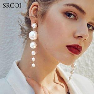 Mode élégant créé Big Simulé de perles longues boucles d'oreilles perles cordes Déclaration Dangle Boucles d'oreilles pour le mariage Party 20pairs cadeaux