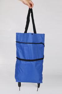 Venta caliente Compras trolley bolsas de mano moda portátil plegable bolsas de compras práctico oxford cloth trolley bolsos de compras