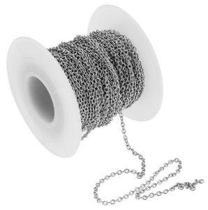 Preço de fábrica 50 m / Rolo de Prata Tom Fino 1.8mm Cadeia Oval CABO ROLO Cadeia de Aço Inoxidável Jóias Encontrar Cadeia de Marcação DIY Para colar