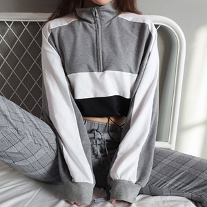 Felpe donna Feitong 2018 Autunno Donna manica lunga Pullover Felpa Camicetta Cerniera Crop Top Camicia patchwork