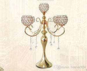 65cm Höhe Hochzeit Crystal Center Tisch 5 Arme Candelabra Tall Kerzenhalter Metall Kandelaber mit Crystal Drops