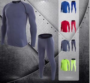 Фитнес костюм костюм с длинными рукавами мужской быстрый сухой эластичный спортивный костюм тренировочные узкие Yoga Брюки спортивная одежда чистого цвета из двух частей