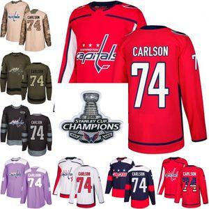 2018 Campeones Stanley Cup 74 john carlson washington capitales Verde rojo EE.UU. Bandera Purple Fights Cancer Practice Camo Veterans Day Jerseys